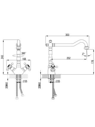 """Смеситель BRENTA 1/2"""" для кухни Г-излив на шпильке CORSO (FE-5B252K) (9679104)"""