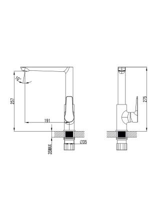 Смеситель GARDA Ø35 для кухни Г-излив на гайке Corso (W)