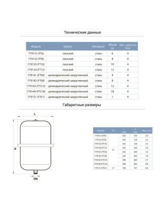 Бак для системы отопления плоский 10л Ø325 AQUATICA (779133)