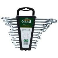Ключи рожково-накидные 12шт (6-14, 17, 19, 22мм) CrV GRAD (6010945)