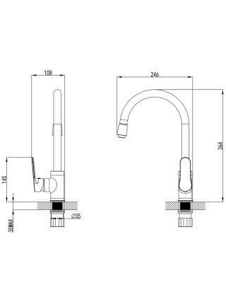 Смеситель MARMORE Ø35 для кухни J-излив на гайке Corso
