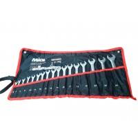Набор ключей рожково-накидных CRV сатин, 17шт (6-24мм) в чехле, MIOL 51-716
