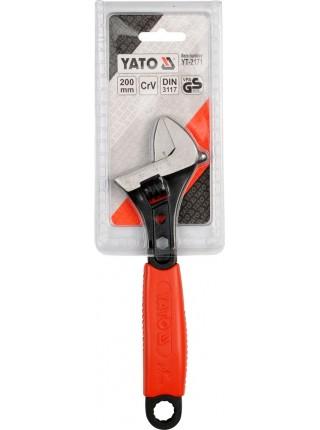 Ключ разводной Профи с обрезиненной рукояткой 200 мм Yato YT-2171